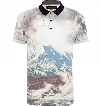Collared Sea-Surf Print Polo Shirt