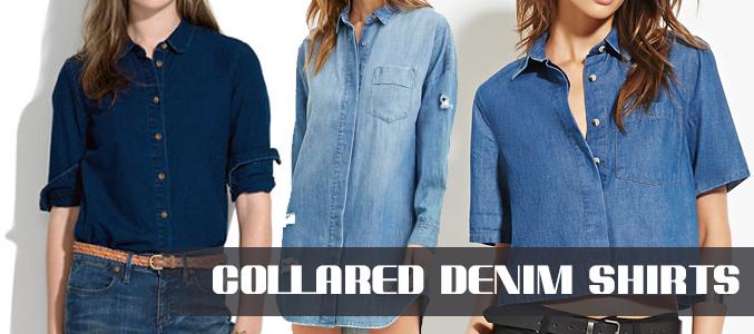 collared-denim shirts